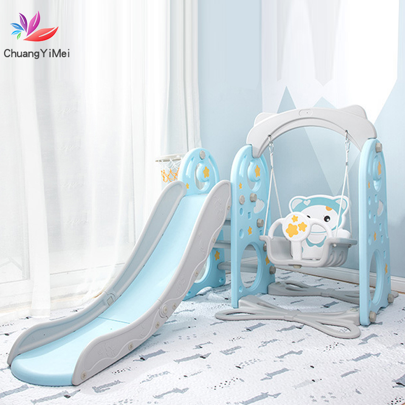 Baby Swing Chair 3 In 1 Slide Combination Shoot Basketball Kids Mini Playground Indoor Multi-Functional Cartoon Slide Set