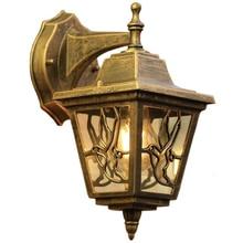 Aplique de luz de pared E27 para exteriores Vintage, aplique de pared de bronce, lámpara de pared impermeable para porche de casa, Patio, jardín