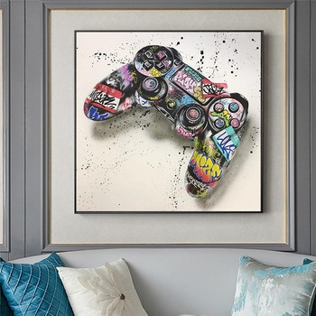 Graffiti Art Gamepad Canvas Art Posters and Print Abstract Game Handle Canvas Paintings on The Wall for Kid's Room Decor Picture 2