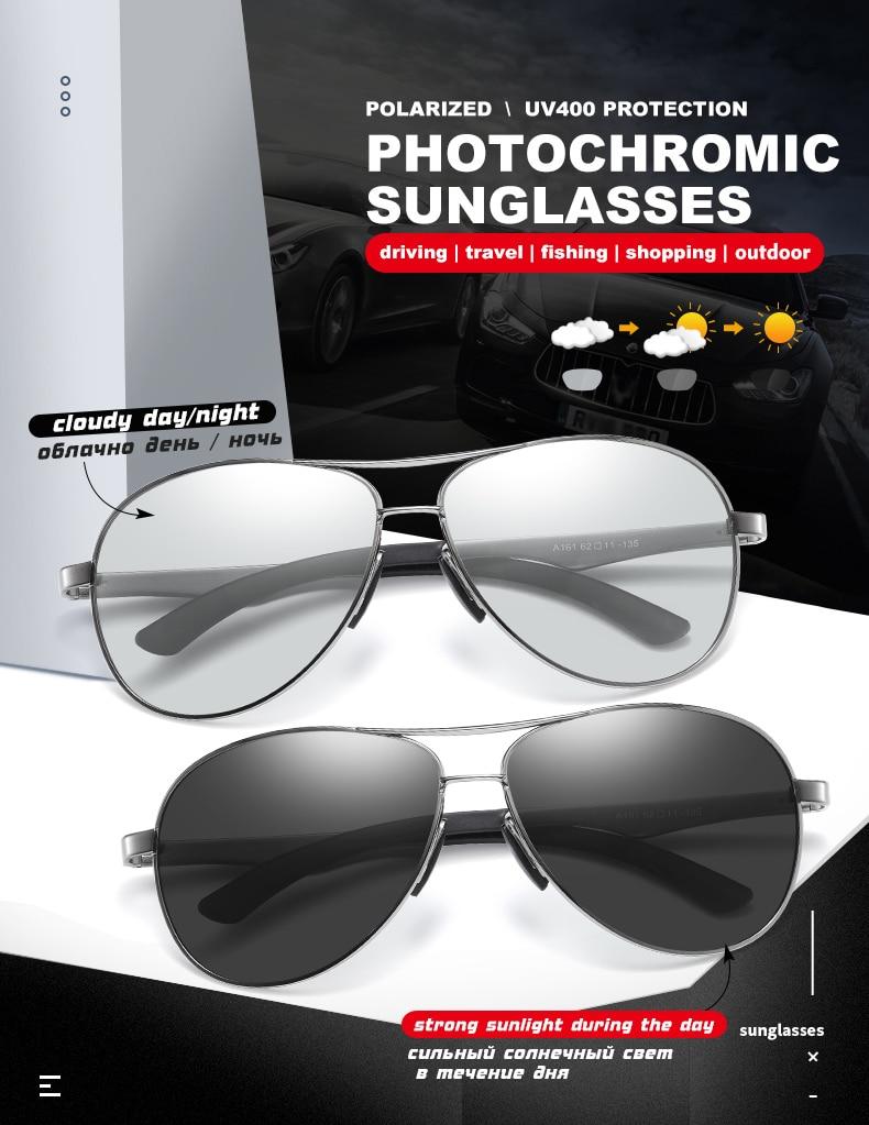 H9f36ce93330a4d8888f7faa3e00e0272A 2020 Aviation Driving Photo chromic Sunglasses Men Polarized Eyewear Glasses Women Day Night Vision