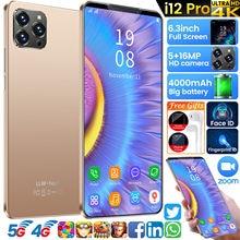 I12 pro 6gb + 128gb telefone inteligente 6.3 Polegada tela cheia rosto impressão digital id telefones celulares 5 + 16mp 10 core face id telefone inteligente celular