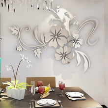Hibiscus Flower Mirror Wall Stickers Living Room TV Backdrop DIY Art Wall Decor Home Entrance Acrylic Wall Stickers Decoration