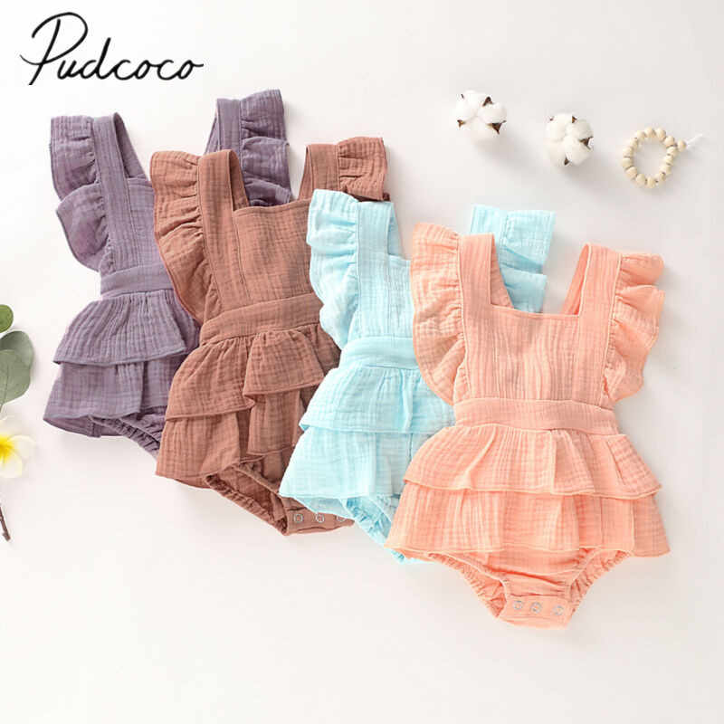 2019 Baby Summer Clothing Newborn Baby Girl Clothes Sleeveless Ruffle Bodysuit Backless Sunsuit Layered Jumpsuit Overall Outfits