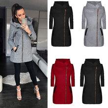 2019 Autumn Jacket Women High Collar Hooded Zipper Long Sleeve Coats Ja