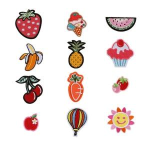Компьютерная вышитая нашивка с фруктами и цветами, Детские аксессуары для одежды, нашивка ручной работы, вышитые тканевые наклейки, милые н...