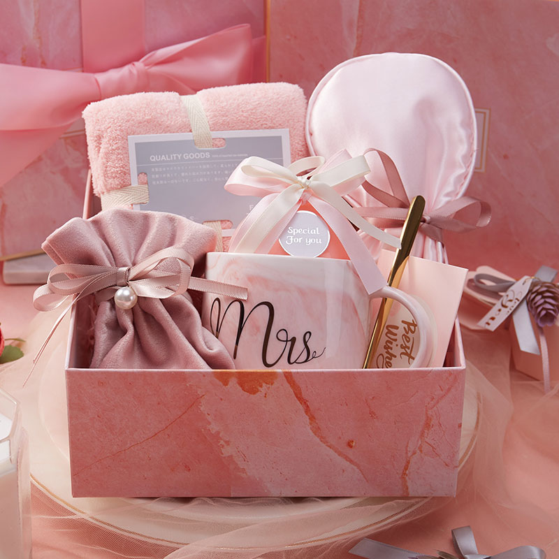 Free Shipping Birthday Gift For Girlfriend Boyfriend Pink Blue Mug Sleep Mask Thanksgiving Christmas Return Gifts For Wedding