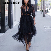 Women Mesh Polka Dot See Through Maxi Dress Elegant Long Sleeve Black Formal Evening Vestidos Classy England Dresses