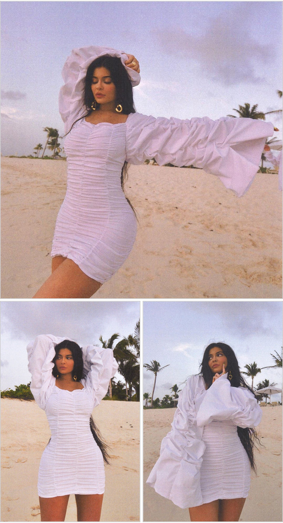 White Silk Ruched Mini Dress Kylie Jenner Extended Ruched Sleeves - kylie-jenner-outfits