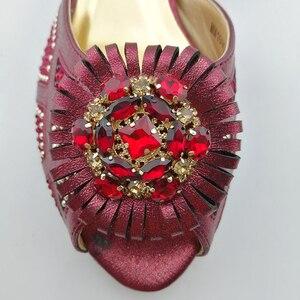 Image 3 - 2019 装飾ラインストーンの靴とバッグセットアフリカのデザインマッチングの靴とバッグセット低ヒール靴 L。紫