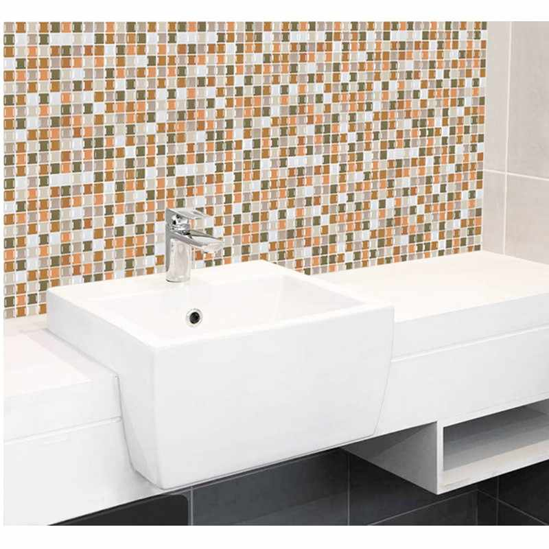 모자이크 벽 타일 껍질과 스틱 자기 접착제 Backsplash DIY 주방 욕실 홈 벽 스티커 비닐 3D