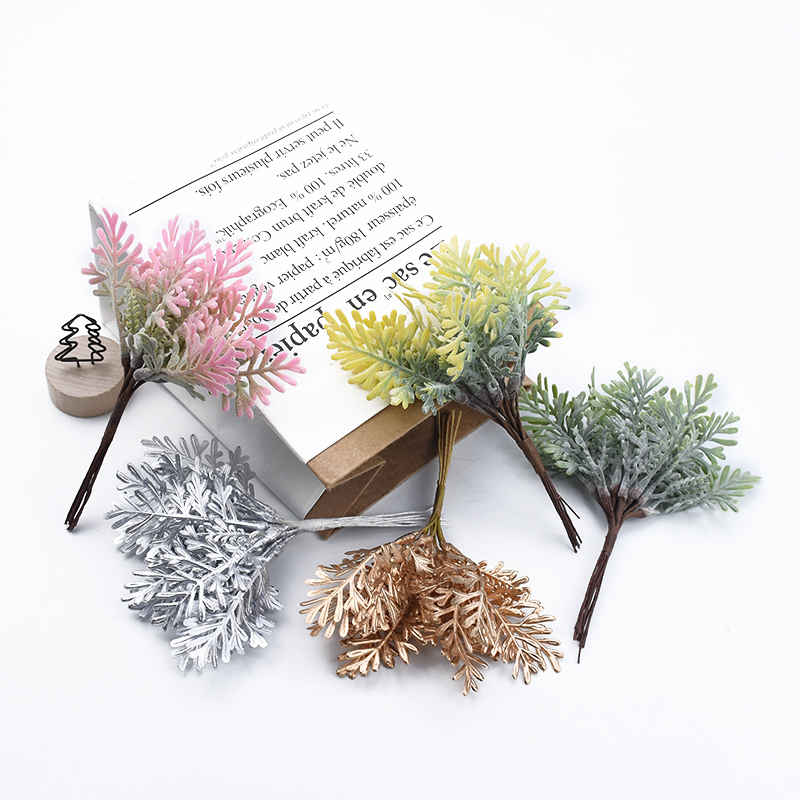 10pcs Golden Silver Christmas Leaf Artificial Plants Wedding Decorative Flowers Vases For Home Decor Diy Gifts Bridal Clearance