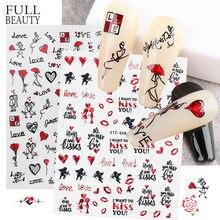 Saint valentin ongle décoration rouge amour coeur Rose léopard autocollants pour ongles Laser romantique 3D décalcomanies enveloppes manucure CHSTZG068-085