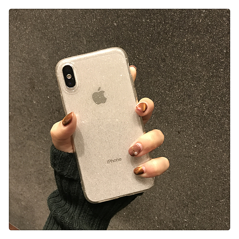 H9f37613e37fb4c94bcecd2283711ad23g - Shining Glitter Powder Black Phone Case For iPhone 11 Pro XR XS Max 8 7 Plus 6S Transparent Soft TPU Shockproof Bling Back Cover