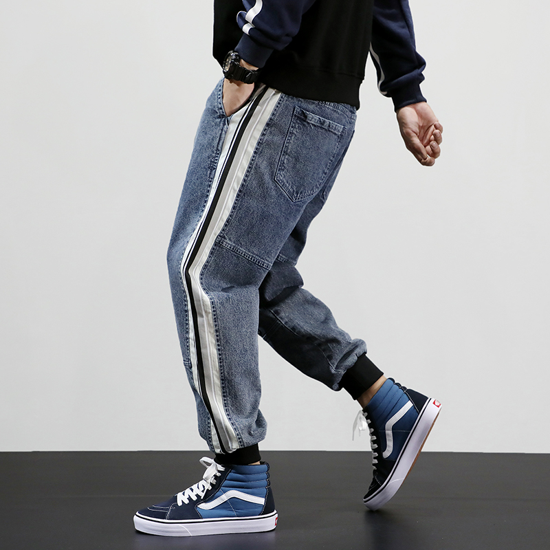 Japanese Fashion Men Jeans High Quality Loose Fit Stripe Patchwork Designer Harem Jeans Men Cargo Pants Streetwear Hip Hop Jeans