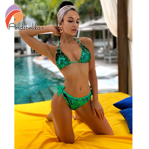Image 2 - Andzhelika 2020 New Bikini Double sided Sequin Bikini Set Women Sexy Brazilian Swimsuit Beach Swimwear Bathing Suit Biquini