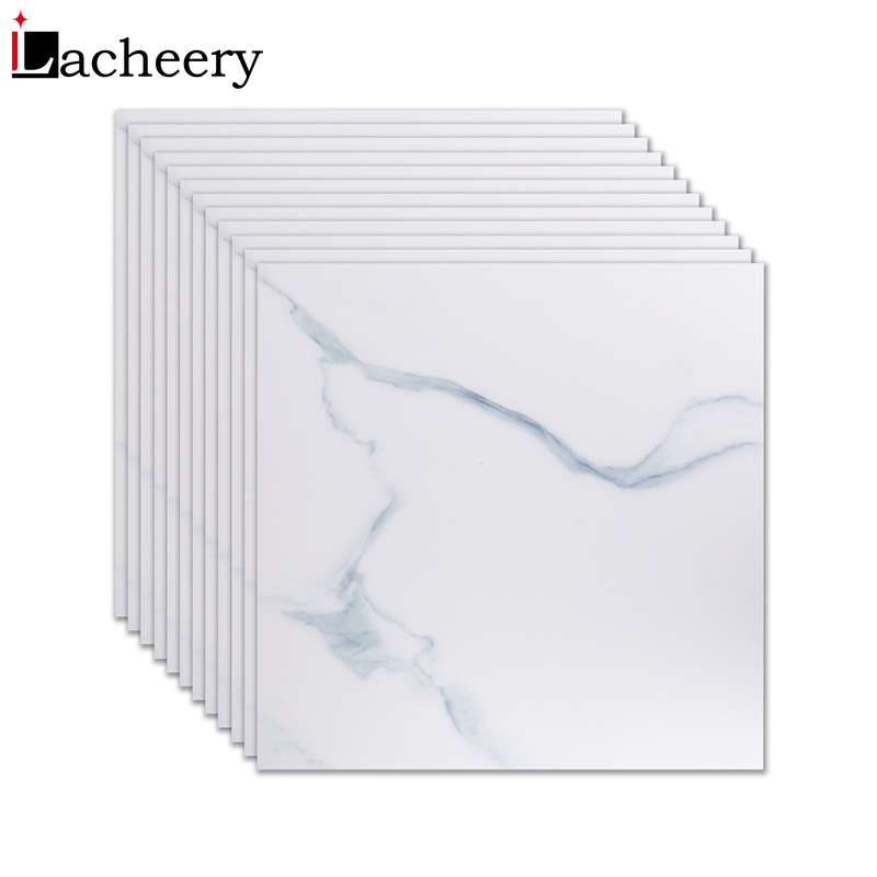 New Living Room Home Decor Marble Wallpaper Floor Decals Vinyl Self Adhesive Film Waterproof Non-Slip White Floor Tiles Stickers