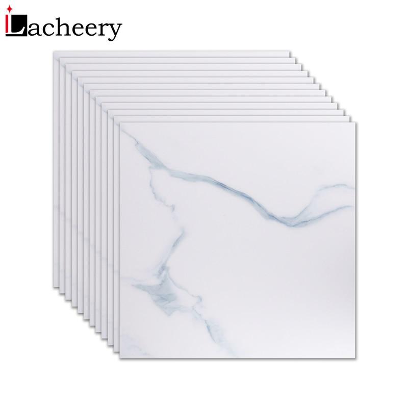 New Living Room Home Decor Marble Wallpaper Floor Decals Vinyl Self Adhesive Film Waterproof Non-Slip White Floor Tiles Stickers