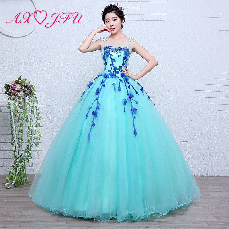 AXJFU luxury princess blue lace   evening     dress   vintage o neck beading flower sleeveless ball gown stage bride blue   evening     dress