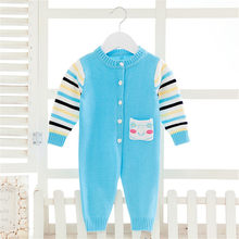 Infants Sweet Singel Breasted Romper Baby Kids Long-Sleeve Knitted Overalls Newborn Long Sleeve Jumpsuit Outfit Clothes AA60798(China)