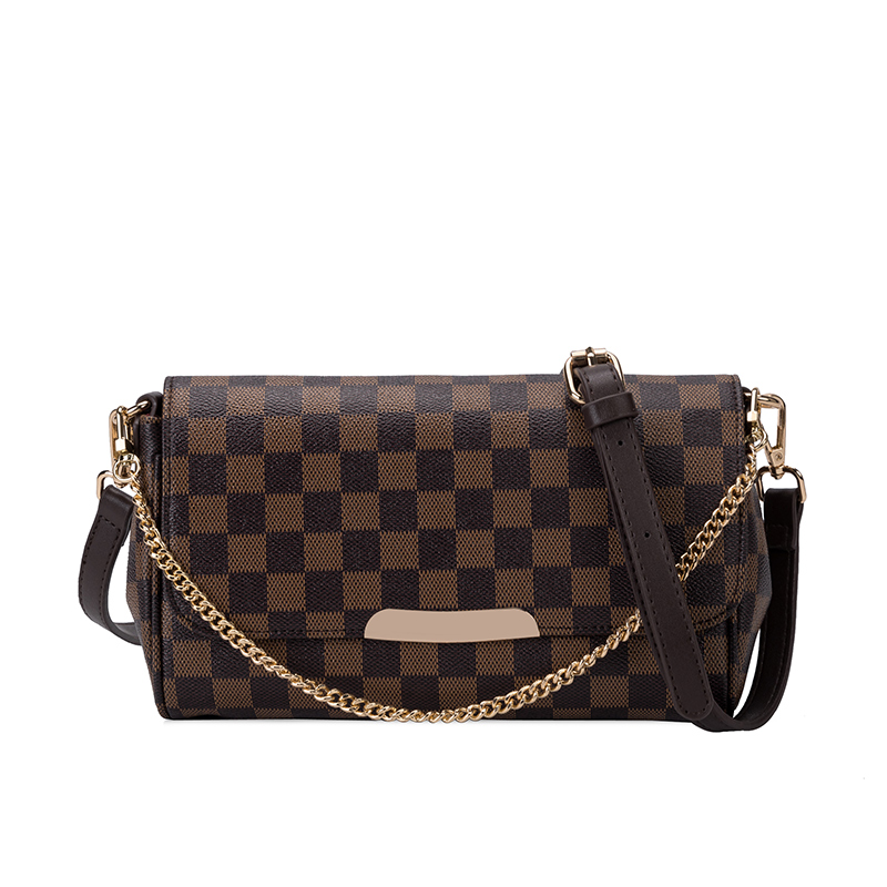 Women's Bag Chain Messenger-Bag Plaid Pu Design Luxury High-Quality European American title=