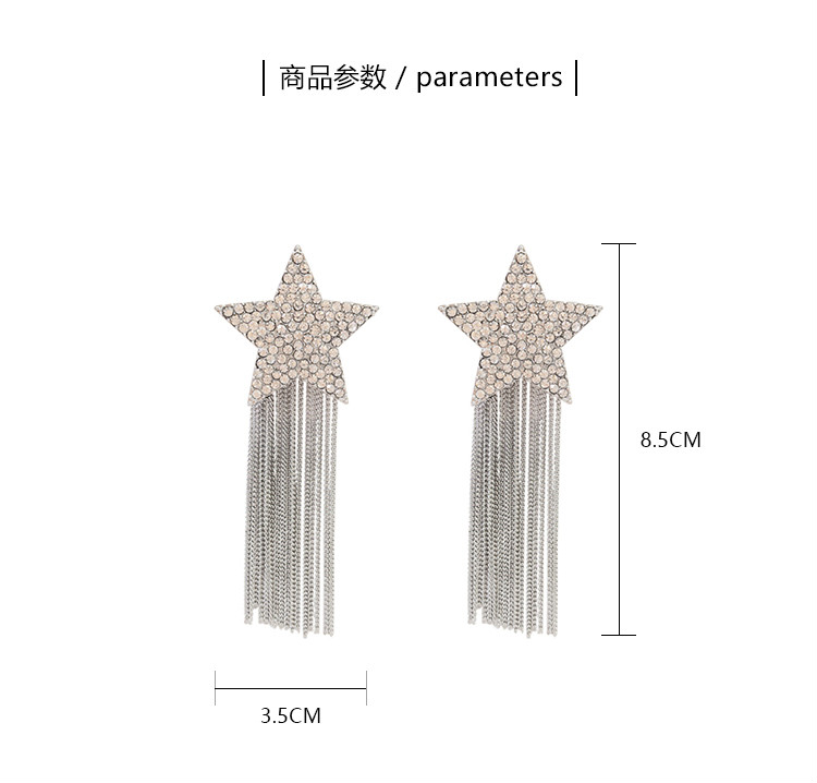 H9f37bfbd6f7847d0bce8596baa567451b - New Arrival Zinc Alloy Trendy Women Dangle Earrings Star-studded Fringed Earrings Long-style Female Jewelry