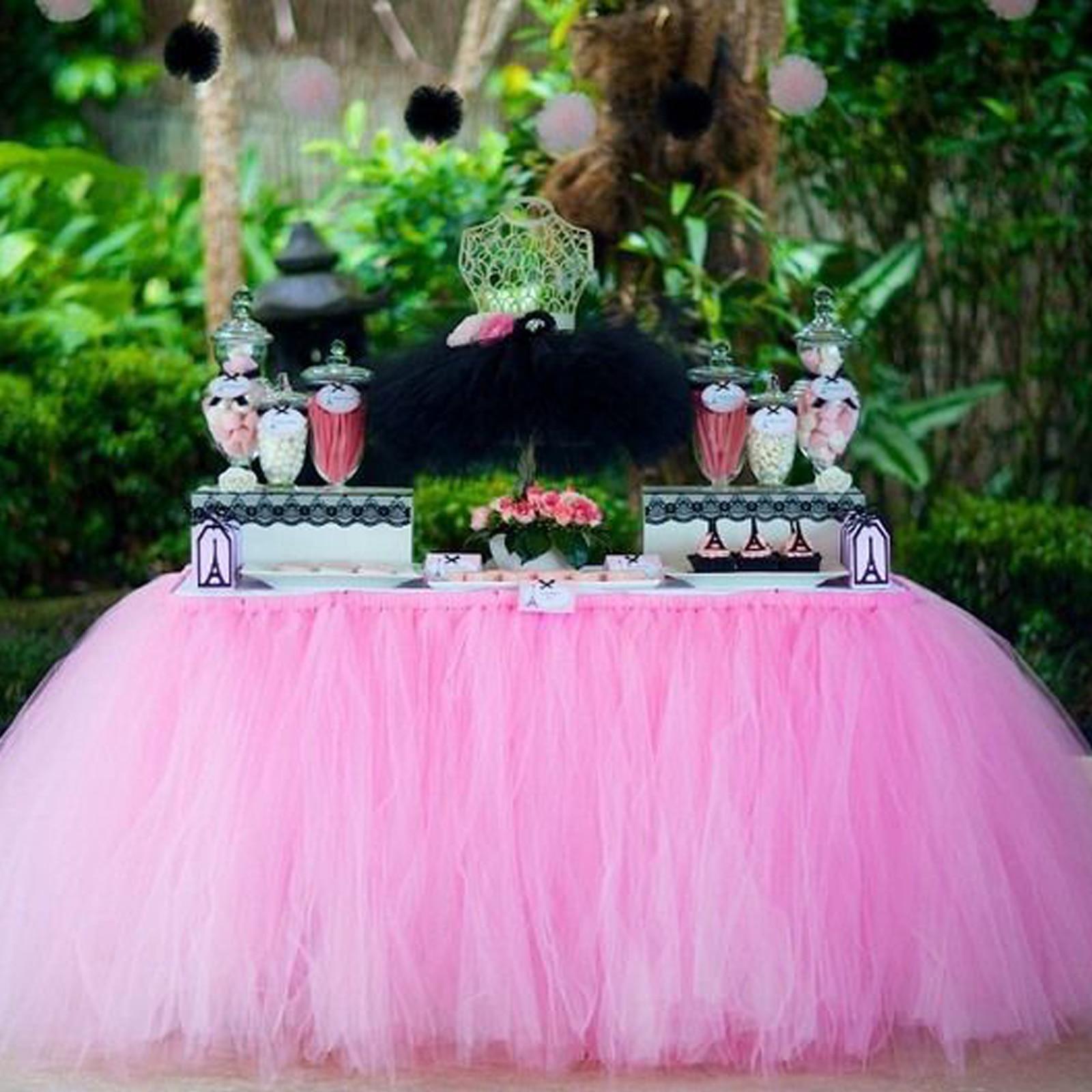 1 Uds. Falda de mesa para cumpleaños, Baby Shower, tul para fiesta de bodas, tutú, mesa, falda, decoraciones, manualidades Diy para decoración de fiesta en casa