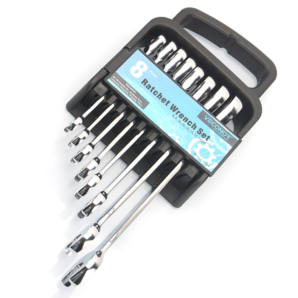 8-19mm 8 Pieces Ratchet Wrench Spanners Set Of Tools 72 Teeth Fixed Head Mirror Polish Multitool With Plastic Rack