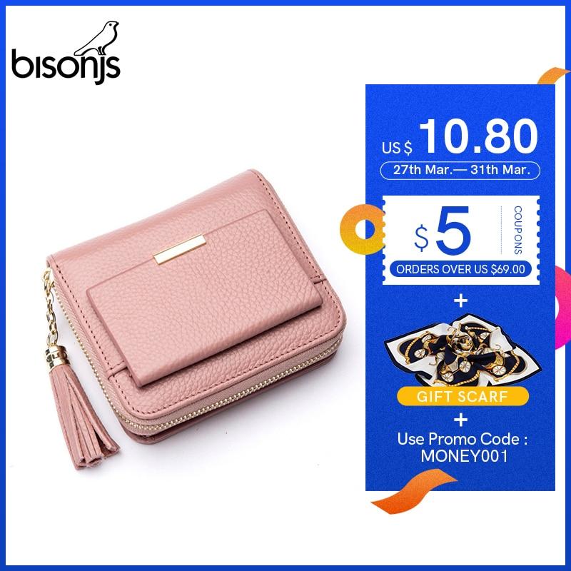 BISONJS 100% Leather Women's Purse Zipper Coin Pocket Wallet Card Holder Female Money Bag Small Carteira Feminina B3276