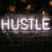 Hustle led sinal de néon luz parede arte decorativa pendurado sinais para o quarto festa decoração natal casa luz da noite usb alimentado