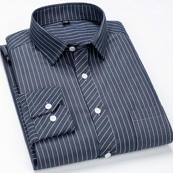 Casual Plaid Dress & Solid & Striped Shirt Men Long Sleeve Shirt Mens Dress Shirts Plus Size Vintage Shirt Plus Size Streetwear plus size patch pocket long sleeve plaid t shirt