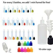 5Pcs 5Ml/10Ml/15Ml/20Ml/30Ml/50Ml/100Ml/120Ml Lege Ldpe Plastic E Vloeibare Sap Dropper Eye Flessen Lange Tip Caps Vape Container