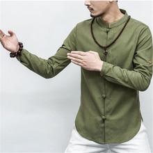Осенняя китайская рубашка с воротником и коротким/длинным рукавом, костюм танга, традиционная китайская одежда для мужчин, куртка в стиле кунг-фу ханьфу