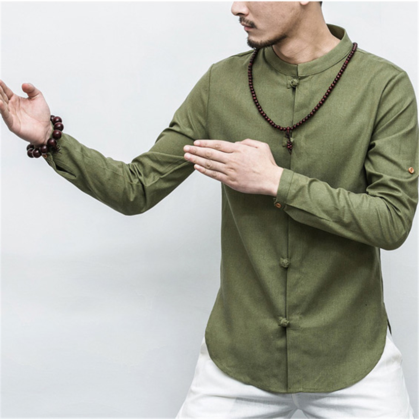 2019 Autumn Chinese Shirt Collar Short /full Sleeve Tangsuit Traditional Chinese Clothing For Men's Jacket Kung Fu Hanfu Style