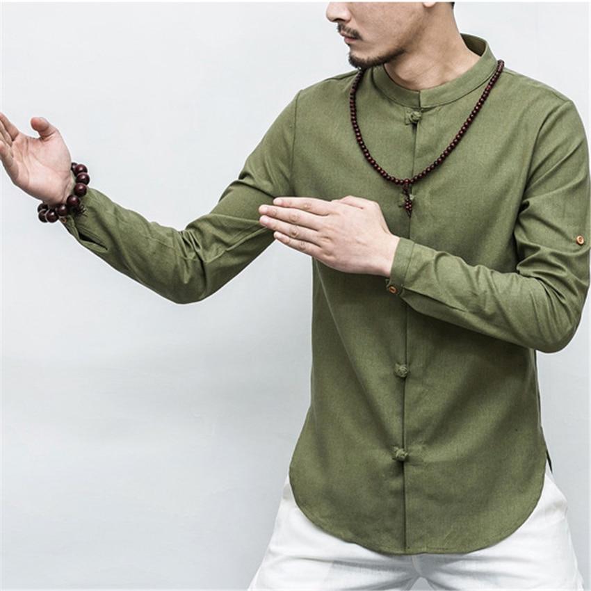 2020 Autumn Chinese Shirt Collar Short /full Sleeve Tangsuit Traditional Chinese Clothing For Men's Jacket Kung Fu Hanfu Style