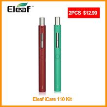 [RU] wyprzedaż 2 szt Oryginalny zestaw Eleaf iCare 110 z pojemnością 1 3ml zbiornik iC głowica wbudowana w 320mAh zestaw baterii e-papieros tanie tanio Z Baterią Cylindryczny Kształt Eleaf iCare 110 Starter Kit 64 Brak Metal 700 mAh Wbudowany