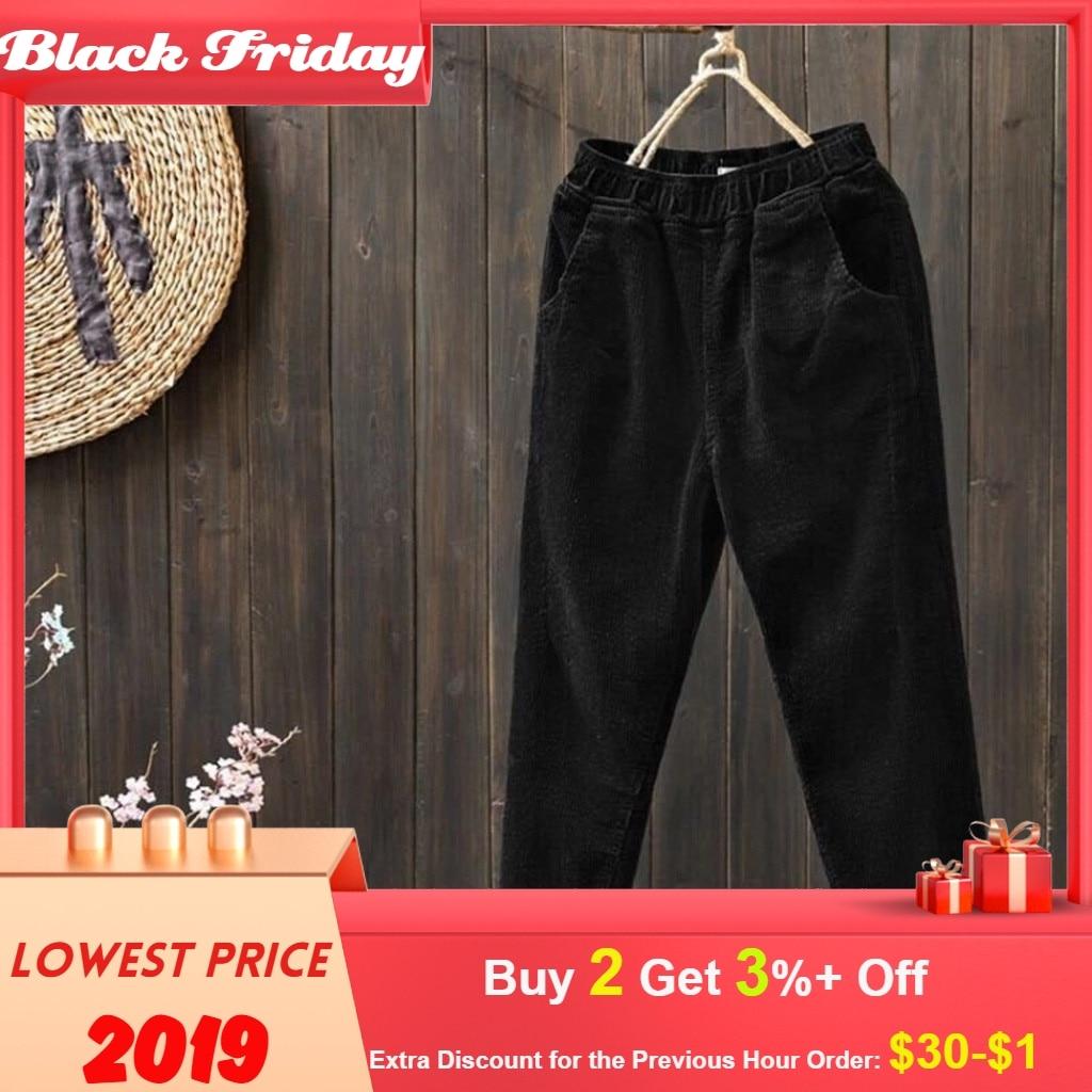 Trousers Women Fashion Plus Size Corduroy Elastic Waist Pocket Harem Pants Long Pants Spodnie Damskie