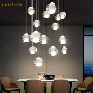 Spiral Orb Crystal Modern Ceiling Lamp LED G4 Customizable Size Nordic Pendant Hanging Lamp Art Deco Staircase Loft Kitchen Bar