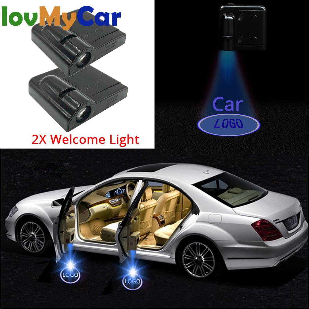 2X Welcome Lamp Car Door Logo Light  Laser Light DC 5V Universal Wireless Projector Light Atmosphere Car Light Car Accessories