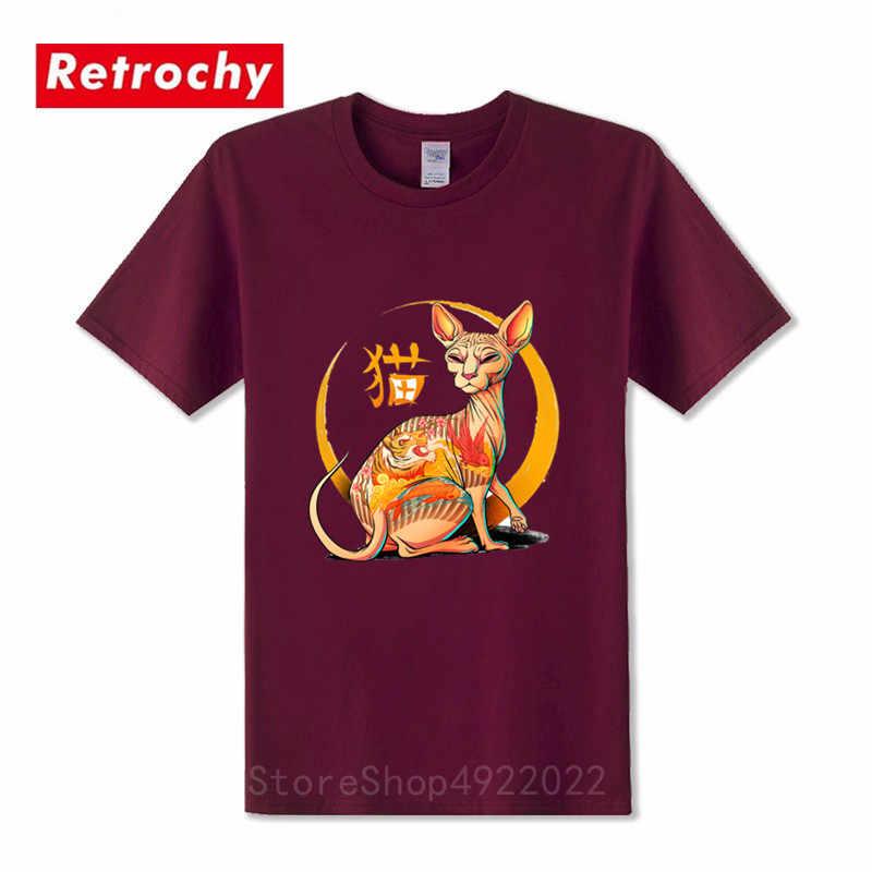 Mode Yakuza katze männer t-shirt kurzen ärmeln casual tops hipster kitty cartoon tattoo Koi gedruckt lustige t hemd tier kühlen tees