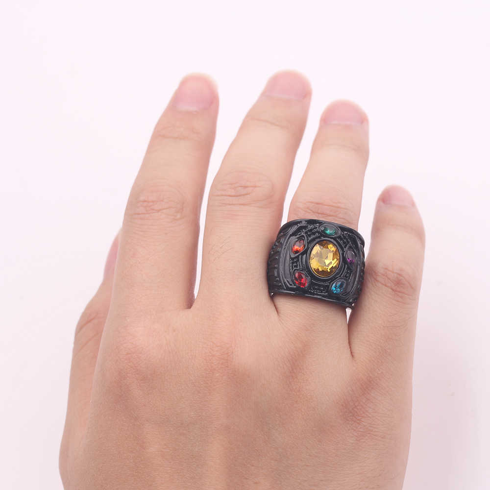 Moda Movie Marvel Avengers Thanos rękawiczki pierścienie nieskończona moc rękawica kryształowy pierścień dla mężczyzn nieskończoność wojna mężczyźni prezenty biżuteria