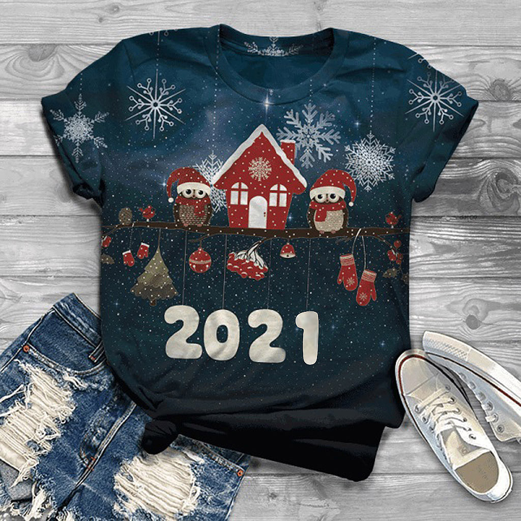 40# 2021 Happy New Year T Shirt Harajuku Aesthetic Plus Size Women Short Sleeve 3d Christmas Printed O-neck Tops Tee T-shirt 1