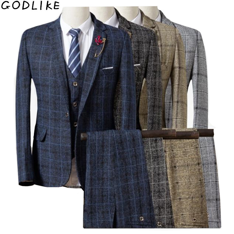 Men Suit 2019 New Mens Checked Suit 3 Pieces Classic Plaid Suits Male Business Wedding Suits Slim Fit Men Tuexdo Party Dress