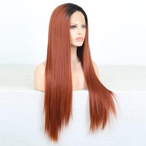 Image 3 - Charisma ยาวตรงทองแดงสีแดง Wigs ด้านหน้าลูกไม้สังเคราะห์ด้านหน้าวิกผมอุณหภูมิสูงวิกผมผมแฟชั่นผู้หญิงกลาง