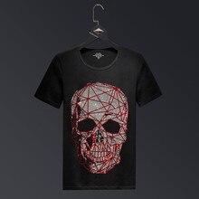 Tallas grandes 2019 Moda Cráneo Diamantes de imitación Camisetas Hombres