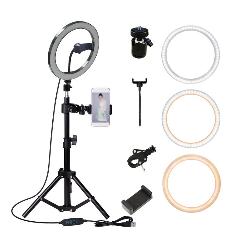 Universal  Led Selfie Ring Light with Tripod Stand Cell Phone Holder USB Ring Lamp for Live Stream Makeup TikTok YouTube Video
