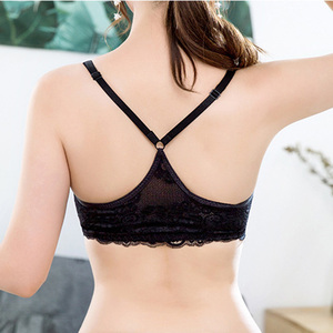 Image 5 - Missomo Push Up Women Bra Lace Sexy Bralette Patchwork Seamless Underwear Backless Transparent Wireless Brassiere Lingerie 90C
