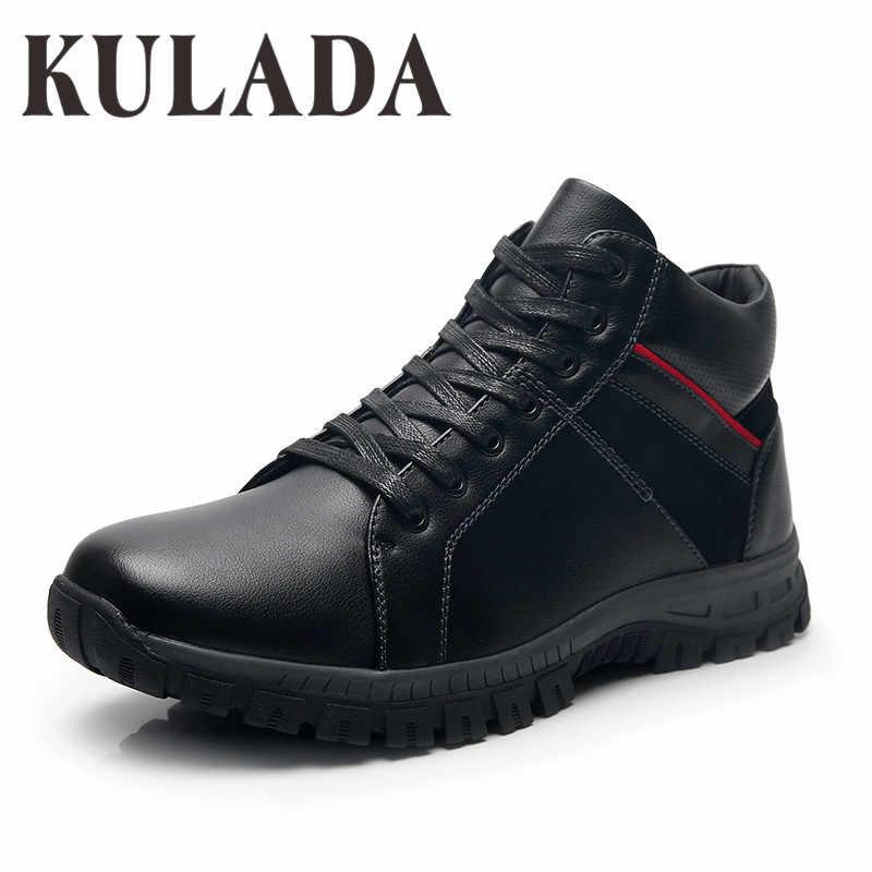 KULADA Nieuwe Laarzen Mannen Winter Schoenen Mannen Outdoor Activiteit Sneakers Laarzen Mannen Veiligheid Laarzen Handgemaakte Lederen Mannen Waterdichte Laarzen