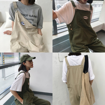 Japanese womens overalls street cartoon style wild jumpsuit loose and thin nine points college girlfriends
