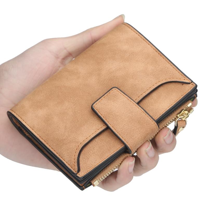 New Fashion Lady Letter Wallet Zipper Short Clutch Solid Vintage Matte Women Wallet Fashion Small Female Purse Short Purse