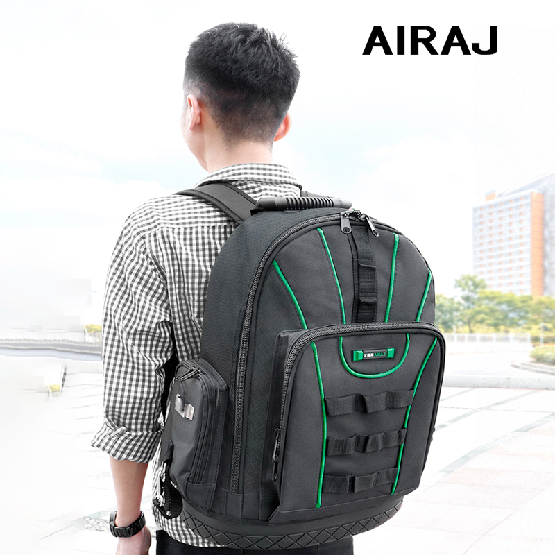 AIRAJ Multi-function Tool Backpack 1680D Waterproof And Wear-resistant Tool Storage Bag For Electrician / Woodworking Tool Bag